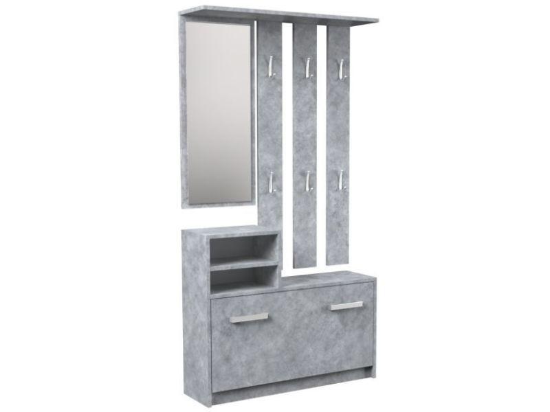 Vittoria - meuble d'entrée - meuble à chaussures - 180x85x24 cm - 6 crochets + miroir + rangement chaussures - beton