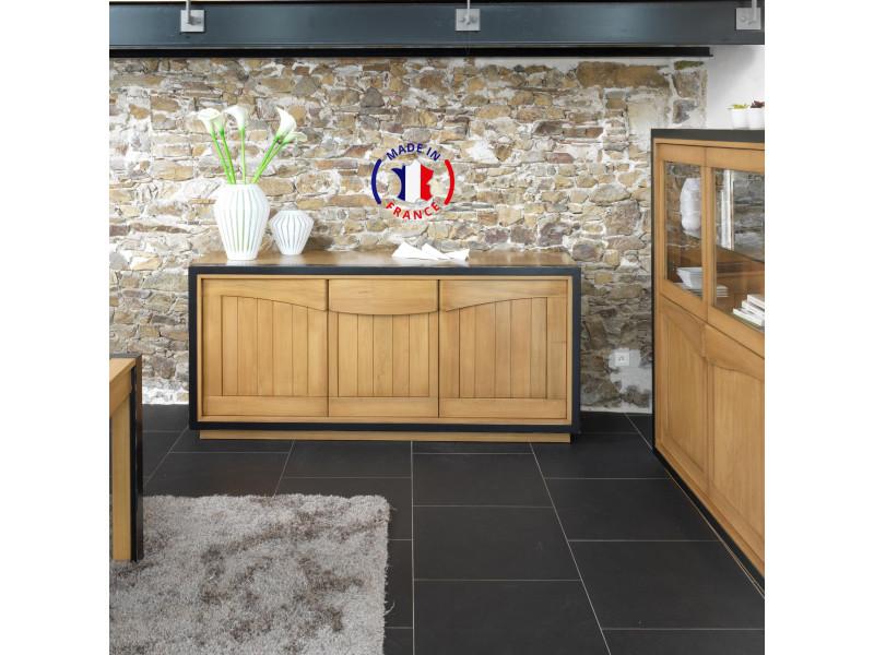 Buffet 3 portes merisier massif 198x51 cm merisier fumé et laque noire - 100% fabrication française