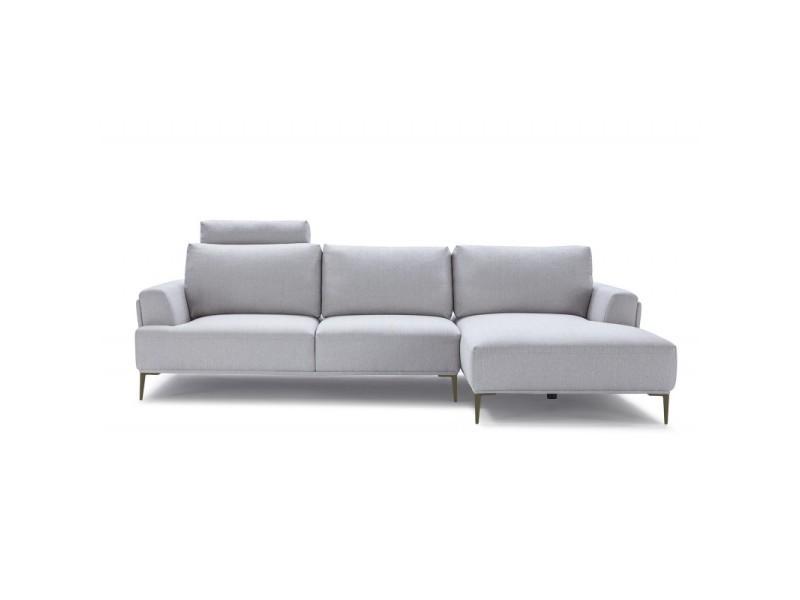 Canapé d'angle droit tissu gris clair modulable - alix