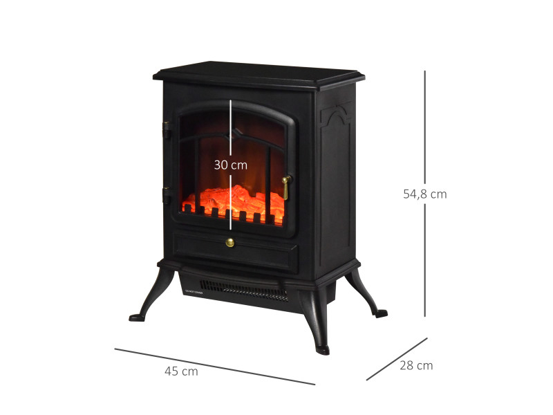 chemin e lectrique po le style r tro thermostat 950 1850 w noir 39 vente de homcom conforama. Black Bedroom Furniture Sets. Home Design Ideas