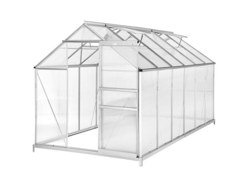 Serre de jardin jardinage outillage aluminium avec embase 375 x 185 x 195 cm helloshop26 1608014