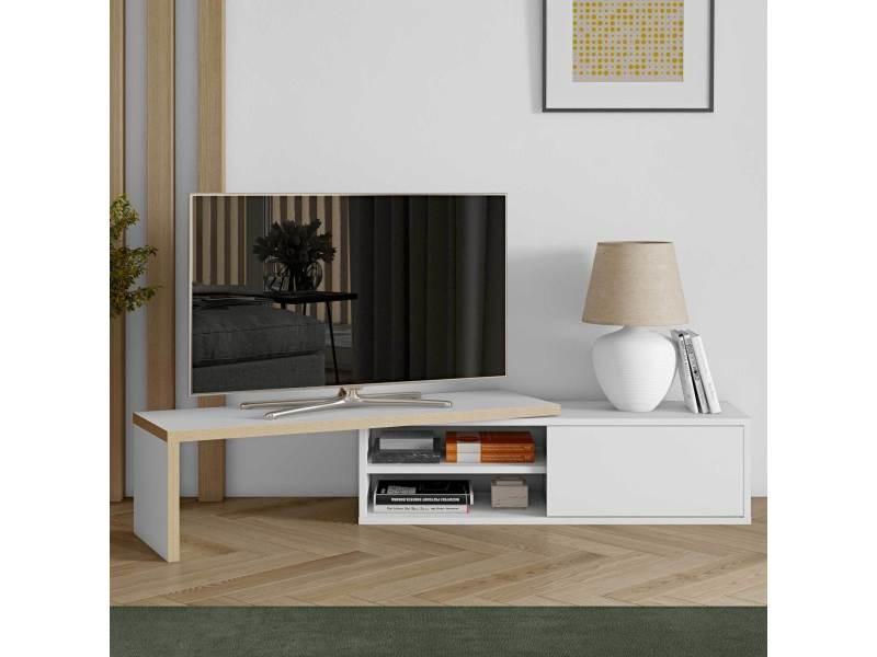 Meuble tv bas extensible en bois niches et porte coulissante l110/203cm move blanc mat/brut