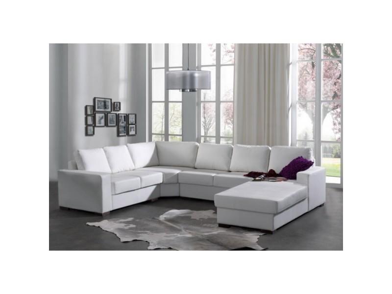canap d 39 angle 6 places oara blanc en simili cuir pu. Black Bedroom Furniture Sets. Home Design Ideas