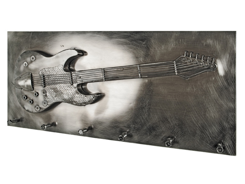 Garderobe murale coloris noir nickelé - dim : l 80 x p 7 x h 35 cm