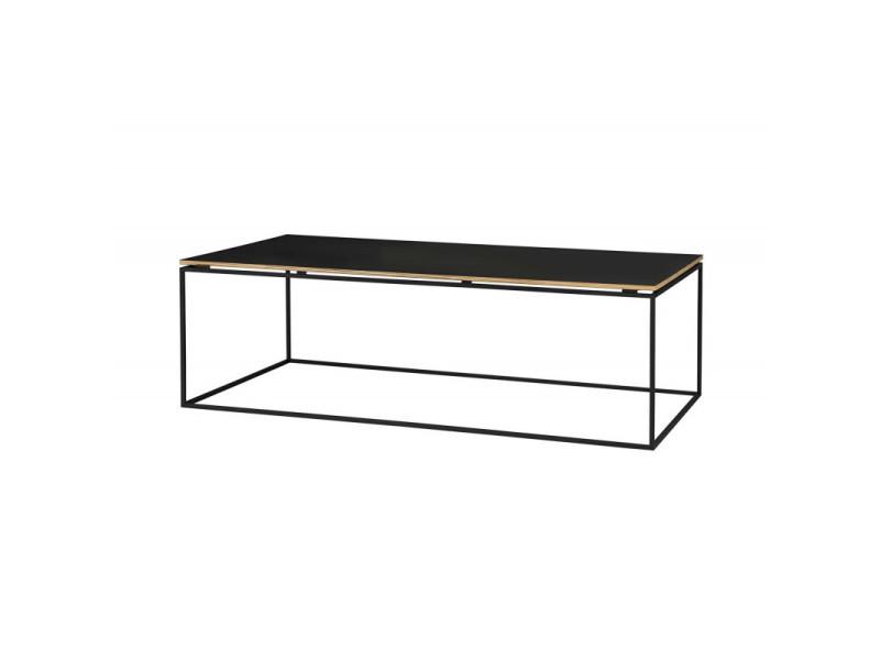 Table basse industrielle noire métal et bois raffie