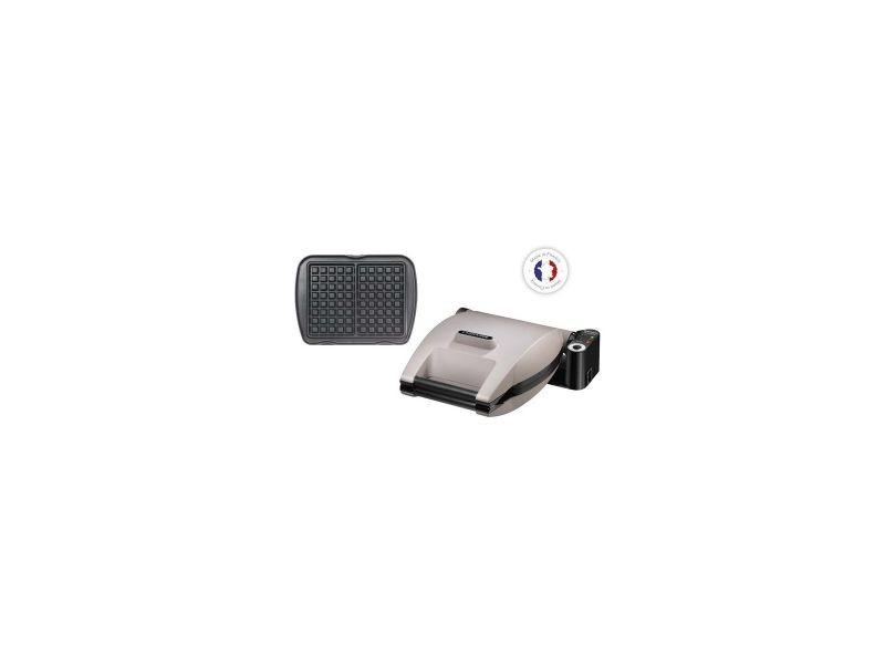Gaufrier gris perlé 1200w appareil à gaufres multifonctions anti-adhésif réversible
