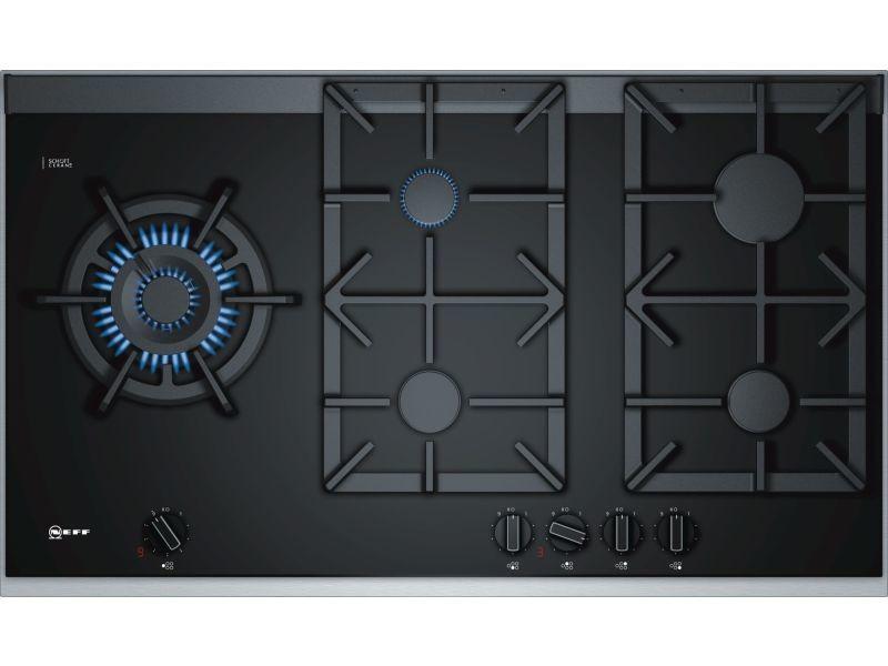 table de cuisson gaz 90cm 5 feux 13700w noir inox. Black Bedroom Furniture Sets. Home Design Ideas