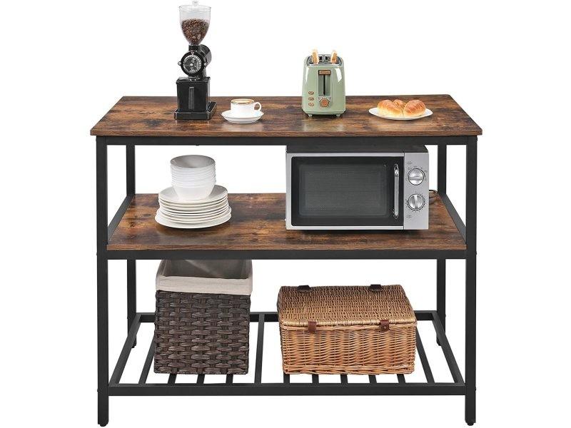 Vasagle étagère de cuisine à 3 étagères, étagère de rangement avec plan de travail, structure en acier stable, 120 x 60 x 90 cm, facile à monter, marron rustique et noir kki01bx Plan de Travail 120 x 60 x 90 cm