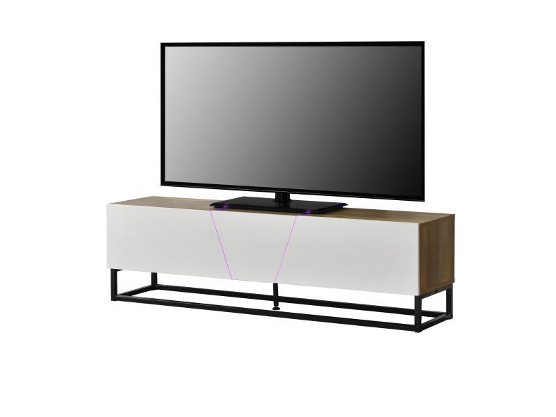 Encasa Meuble Tv Avec éclairage Led Armoire Basse 140 X 35 X 41 Cm
