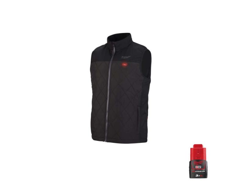 Veste chauffante milwaukee sans manche m12 hbwp-0 taille s noir 4933464370 - batterie m12 12v 3.0ah 4933451165-PackB