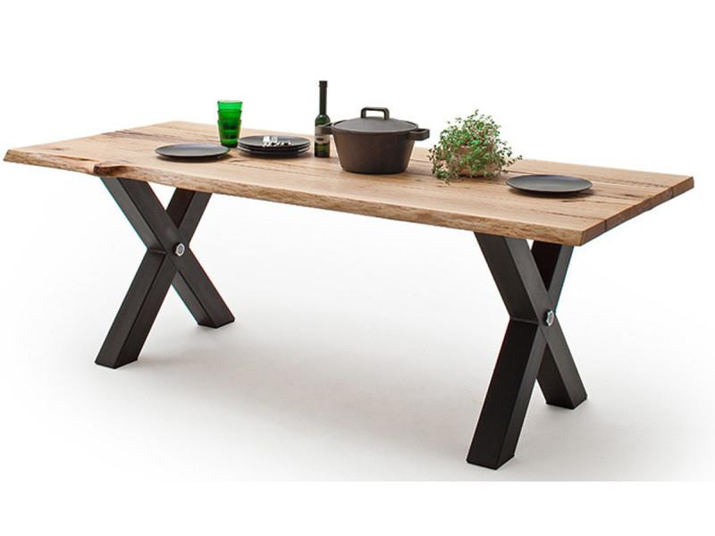 Table à manger en bois massif coloris chêne sauvage et anthracite - l.200 x h.77 x p.100 cm -pegane-