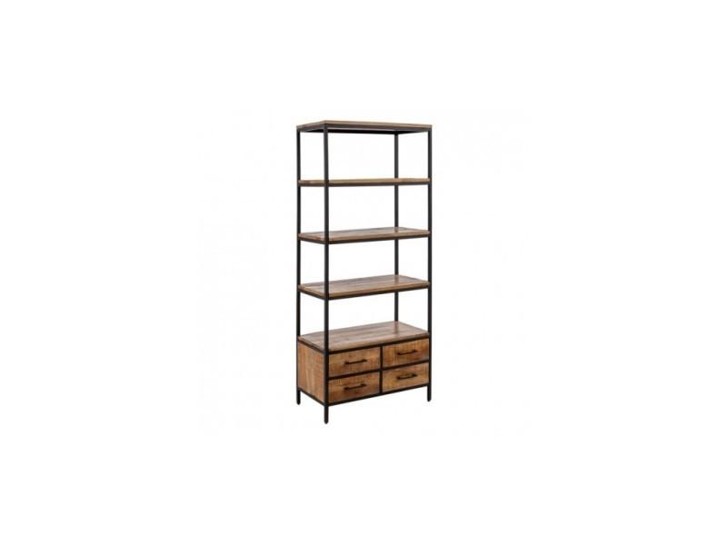 Étagère bois de manguier metal 4 tiroirs et étagères 180 cm lona