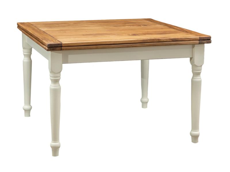 Table à rallonge champêtre en bois massif de tilleul avec structure antique blanche et plateau en finition naturelle