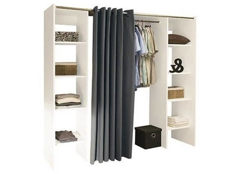 dressing extensible chica 2 colonnes blanc et rideau anthracite 20100848304 vente de dressing. Black Bedroom Furniture Sets. Home Design Ideas