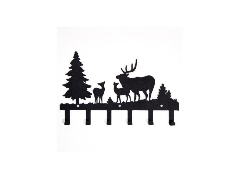 Homemania porte-manteau noël - animaux, forêt, cerfs - avec crochets - décoration murale, art mural, mur - entrée, couloir - noir en métal, 42 x 2 x 28 cm