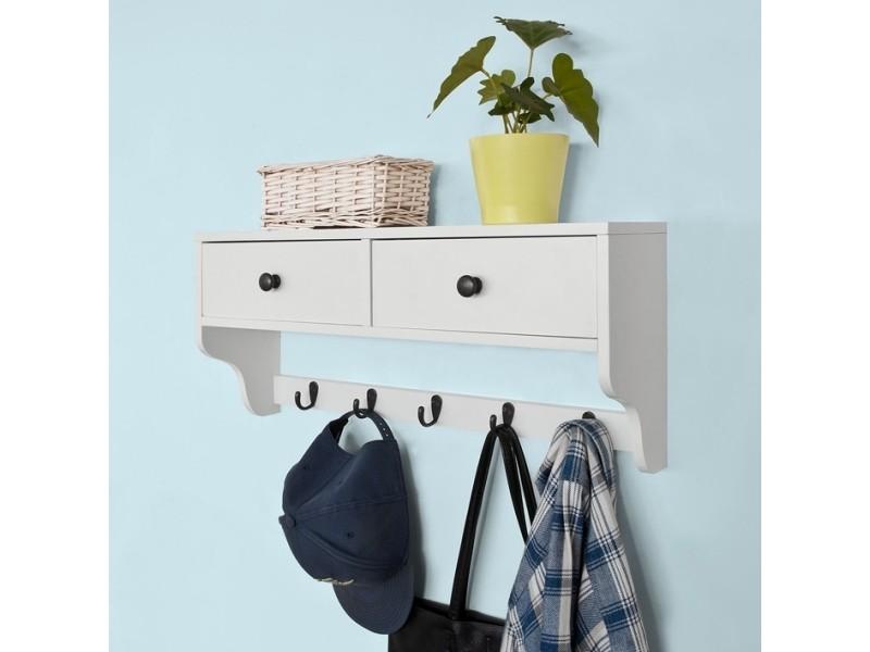 Portemanteau étagère murale porte-manteau salle de bain meuble d'entrée avec 2 tiroirs et 5 ...