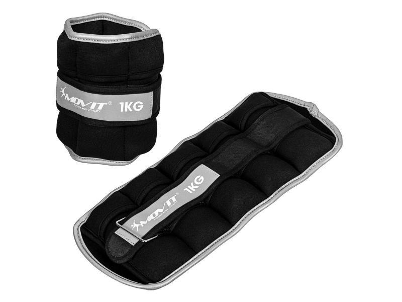 Movit® bandes lestées pour poignets et chevilles 2x1kg, noir, poids néoprène avec matériau réfléchissant, réglable, doté de 5 sacs de poids en nylon avec sable de fer