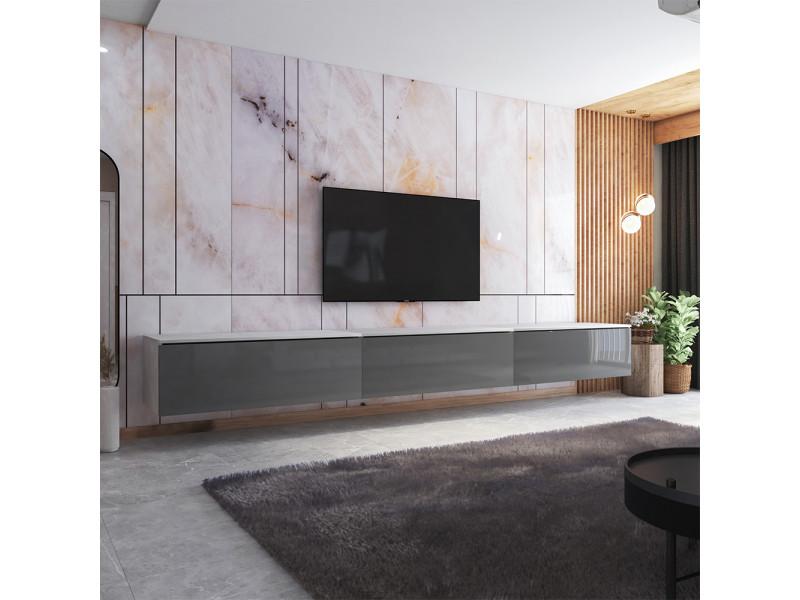 Meuble tv - skylara - 300 cm - blanc mat / gris brillant