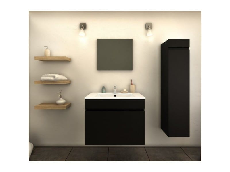 meuble de salle de bain simple vasque 60 cm 1 colonne noir mat laura l 60 x l 46 x h 50. Black Bedroom Furniture Sets. Home Design Ideas