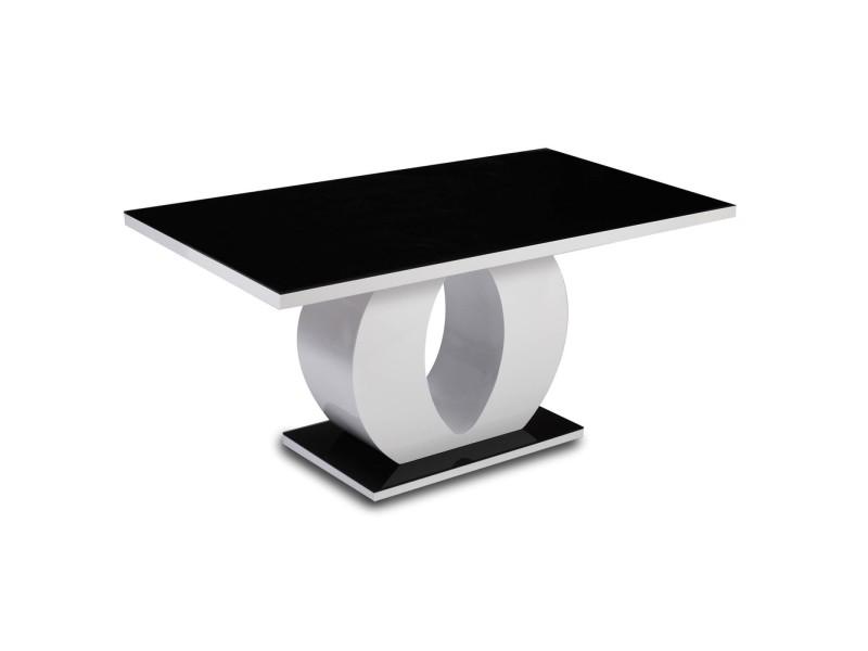 Awamoa - table laquée noir et blanc