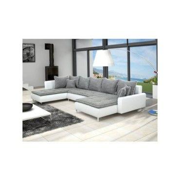 Canapé d angle panoramique dante 6  7 places gris et blanc