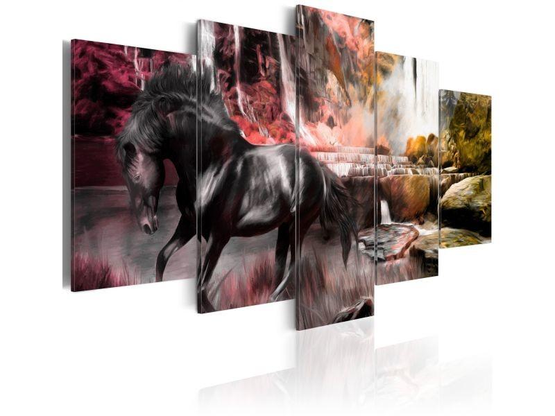 tableau cheval noir sur fond de ciel cramoisi 020116 9 vente de artgeist conforama. Black Bedroom Furniture Sets. Home Design Ideas