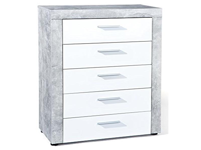 Commode coloris gris/blanc avec 5 tiroirs - dim : 74 x 105 x 40 cm -pegane-