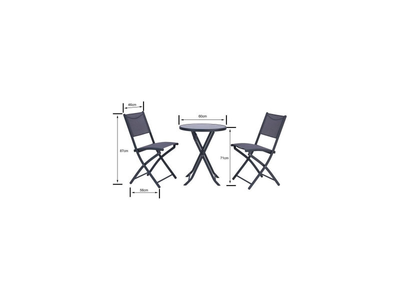 Finlandek - ensemble salon de jardin 2 places - table ronde ...