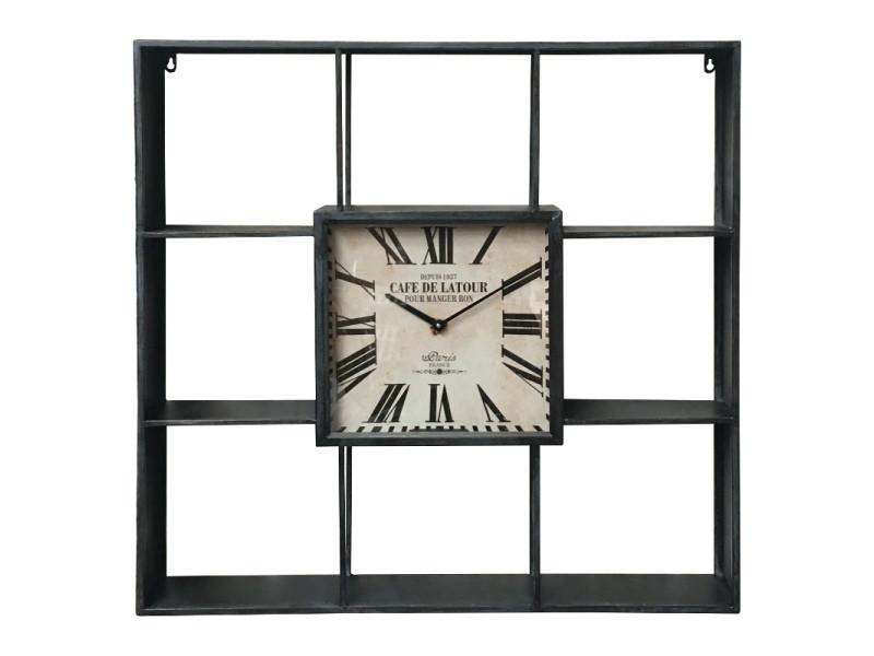 Grande etagère horloge industrielle métal fer murale 80 cm x 80 cm x 12 cm