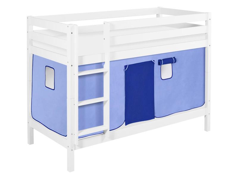 Lit superposes enfants Jouez lit Pin massif blanc rideau bleu