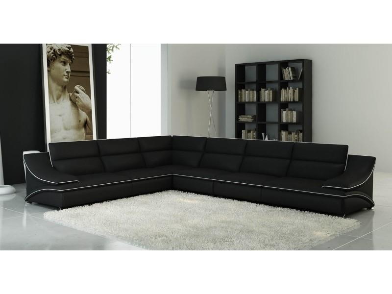 Canapé d'angle modulable cuir design noir et blanc roxa-