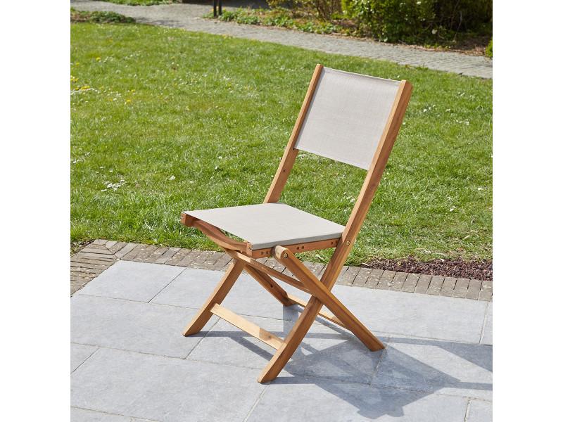 Chaise pliante en bois d'acacia et textilène gris 700019