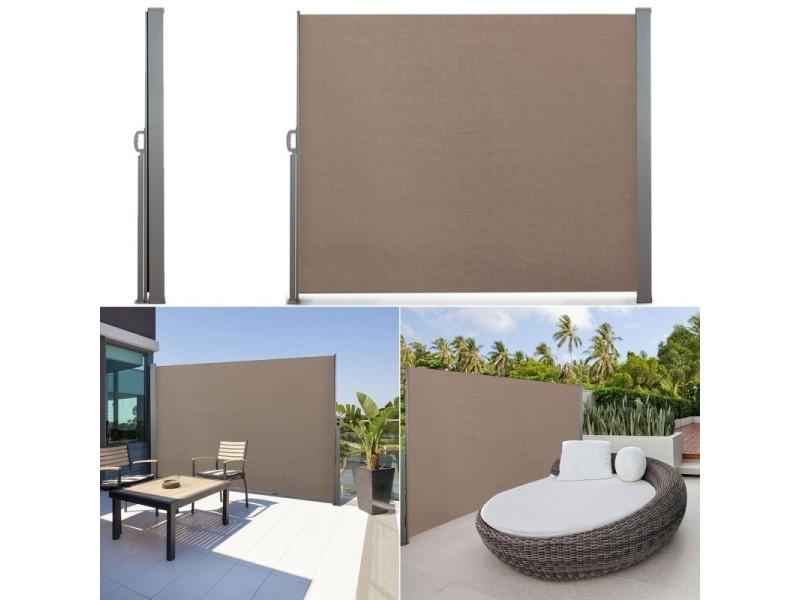 Paravent Rétractable 300 X 200 Cm Store Taupe Latéral Enroulable