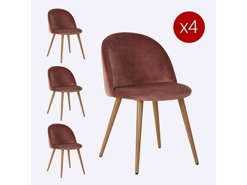 lot de 2 chaise scandinave velours zomba rose vente de meubler design conforama - Chaise Scandinave Rose
