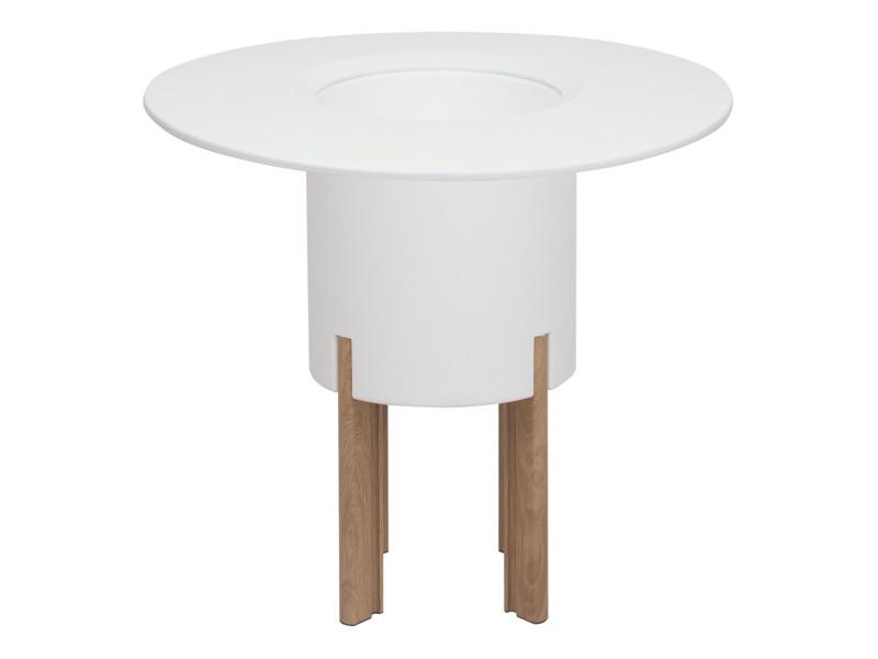 Kit mediterraneo 75rb: jardinière modulaire ronde blanche 75h pieds aluminium couleur bois + table ronde blanche 49991011544895