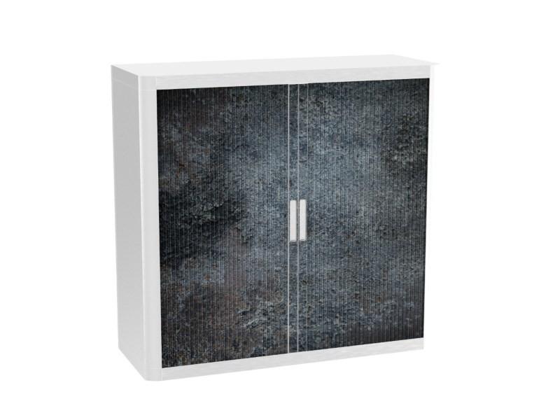 Armoire de bureau métalique porte coulissante h 1m - nigrum