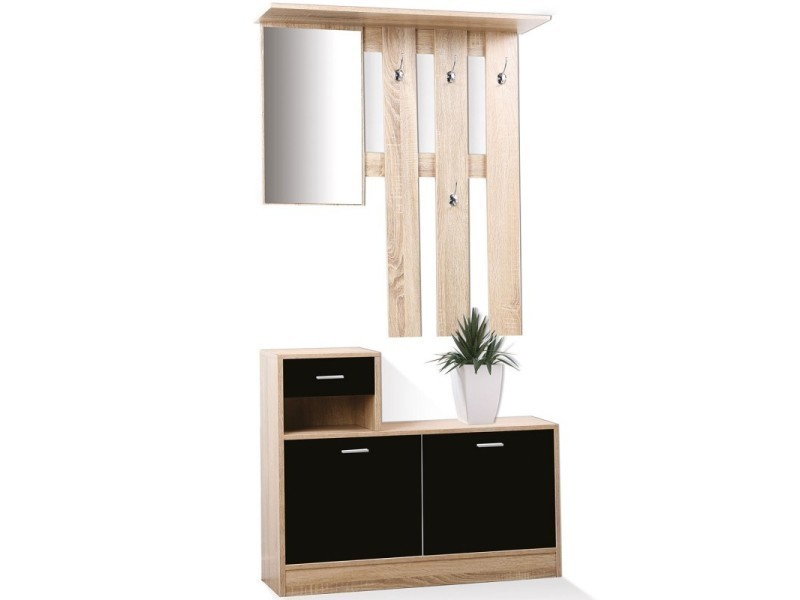 meuble vestiaire d 39 entr e d cor h tre portes noires avec miroir vente de id market conforama. Black Bedroom Furniture Sets. Home Design Ideas