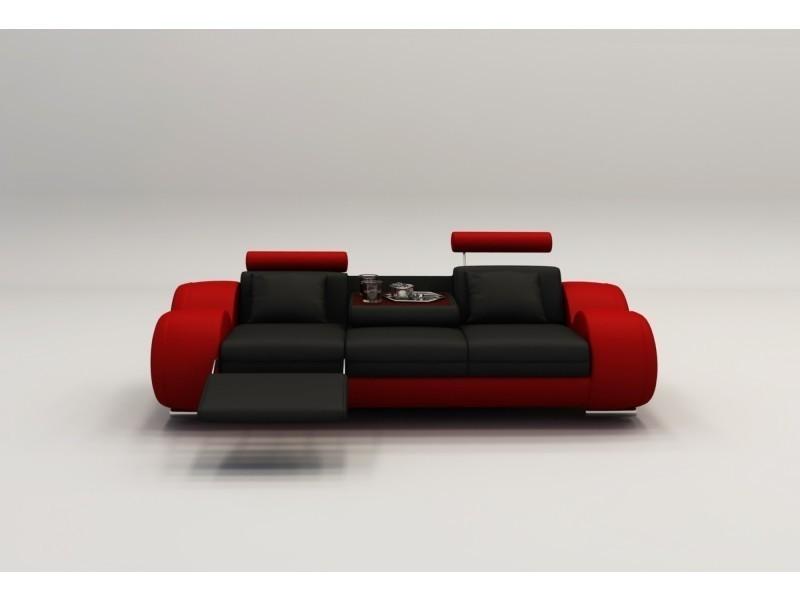 Canapé design 3 places cuir noir et rouge + têtières relax oslo-