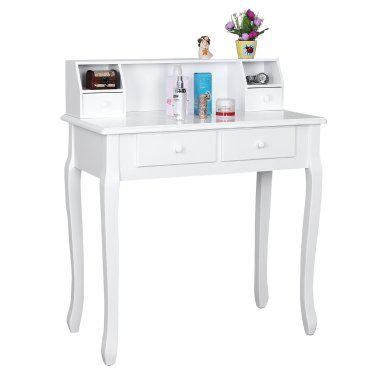 Coiffeuse bois table maquillage blanc helloshop26 1412004 - Table de maquillage conforama ...