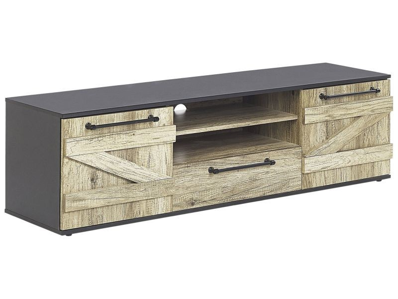 Meuble tv noir et bois clair salter 221750