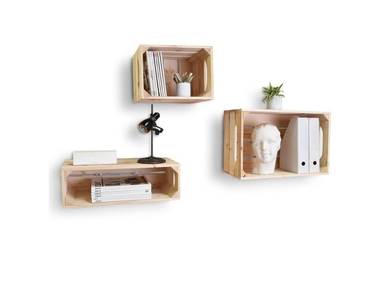 lot de 3 tag res en bois profondeur 30 cm conforama. Black Bedroom Furniture Sets. Home Design Ideas