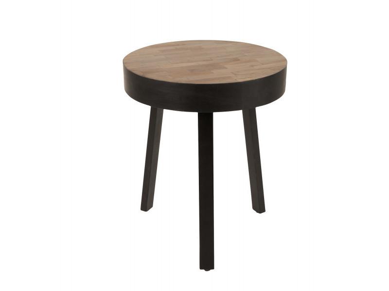 Table basse ronde ø45 cm en teck recyclé suri small - couleur - bois / métal
