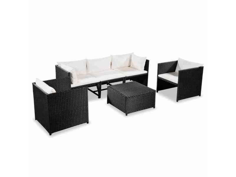 Superbe meubles de jardin collection suva mobilier de jardin 18 pcs résine tressée noir et blanc crème