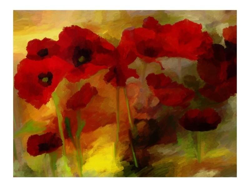 Papier peint - poppies in warm tone 350x270