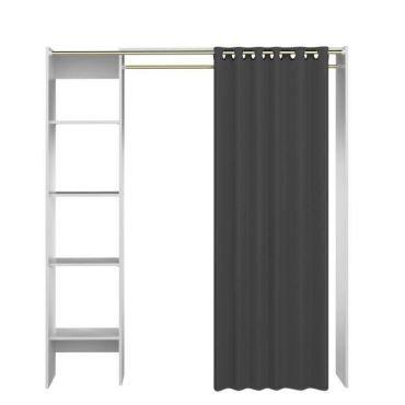 Dressing - kit amenagement de placard palmer dressing extensible contemporain blanc mat + rideau ...