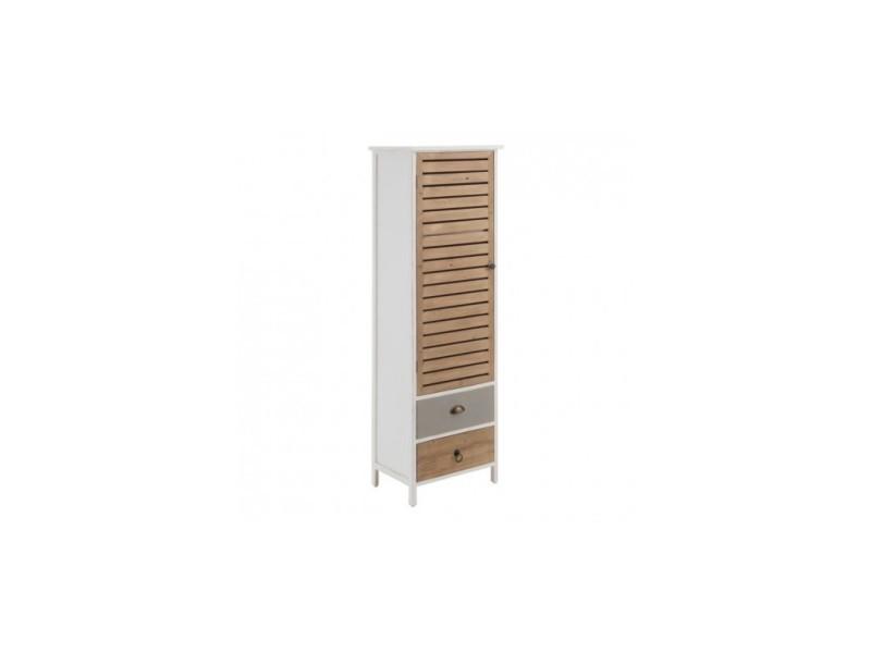 Armoire style naturel blanc 2 tiroirs et 1 porte bois 160cm pegane