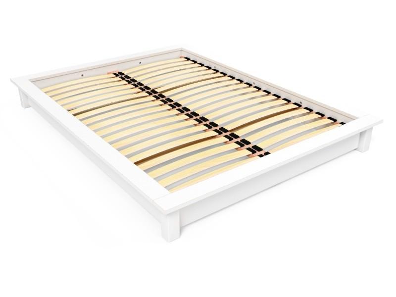 Lit futon solido bois massif - 2 places 140x200 blanc SOLIDO142-LB