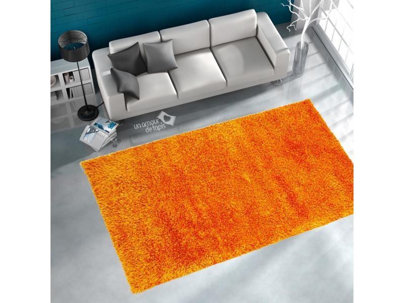 Tapis salon malaidory uni orange 160 x 230 cm tapis longues mèches ...
