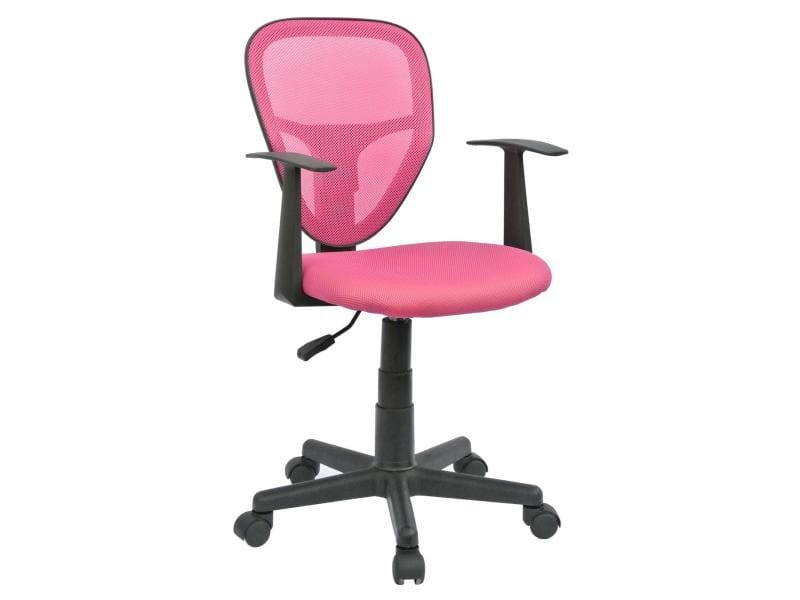 fauteuil chaise de bureau enfant studio hauteur r glable sur roulettes rev tement tissu pink. Black Bedroom Furniture Sets. Home Design Ideas