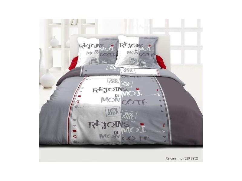 parure 3 pieces housse de couette rejoins moi 220x240 cm conforama. Black Bedroom Furniture Sets. Home Design Ideas